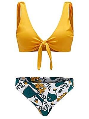 Features:Tie Knot Front, Floral Print, High Waisted Two Pieces Swimsuit for Women. Soft with Good Elasticity, Comfy to Wear. OCCASIONS: Tropical Vacation, Beach Party etc Machine Wash/ No Bleach Machine Wash/ No Bleach