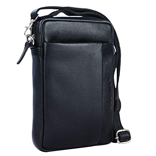STILORD \'Fiete\' 2-in-1 Umhängetasche/Handgelenktasche Leder Herren multifunktionale Handtasche mit abnehmbarem Schulterriemen kleine Ledertasche im Vintage Design, Farbe:schwarz