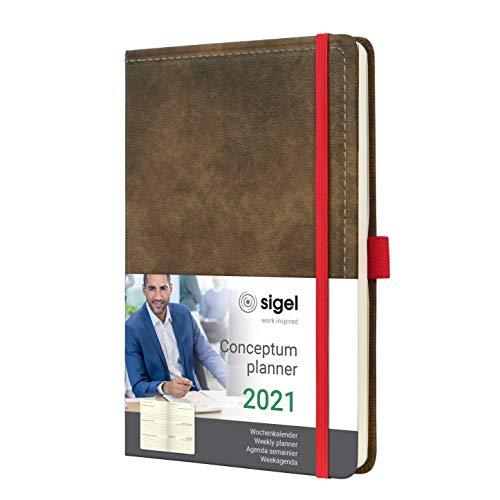 SIGEL C2155 Agenda semanal 2021 Conceptum, tapa dura,13,5 x 20,3 cm, aspecto vintage de cuero marrón