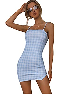 Summer Spaghetti Strap Cami Dress Soft and comfortable fabric, Fabric has some stretch Feature: Plaid, Spaghetti Strap, Bodycon, Pencil, Slim Fit, Fashionable Suitable occasions: Perfect for casual, club wear, daily life and outgoing, fit for summer ...