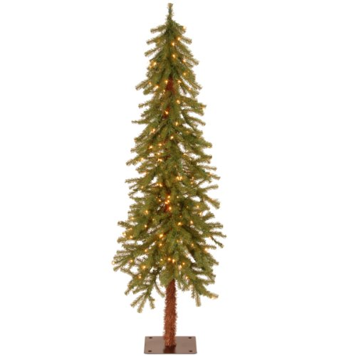 National Tree Company Pre-lit Artificial Christmas Tree | Includes Pre-strung White Lights and Stand | Hickory Cedar Slim - 5 ft