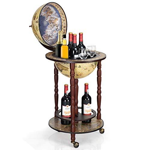 Goplus Mappamondo Bar Porta Bottiglie Scaffale per Vino in Modello Mappamondo Vintage Artistico, Supporto Robusto di Legno, con 3 Ruote 88x44,5x44,5cm