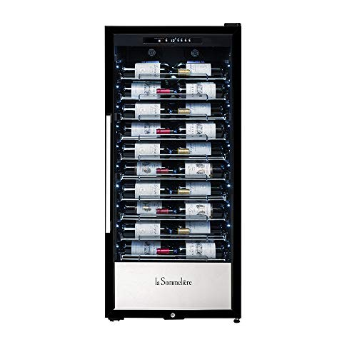 La Sommelière Cave à vin de vieillissement Gamme Professionnelle PF110 | 107 Bouteilles – Présentation des vins | 10 clayettes coulissantes | Design élégant | Serrure