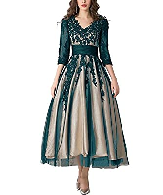 Fabric lace: It is breathable,glossy,slight elasticity,suitable for any season wearing. Women's Lace Applique Tea-Length Mother of Bride Dresses Prom Gowns. Occasion: Prom, Formal Evening, Quinceanera, Graduation, Homecoming, Wedding Party, Military ...