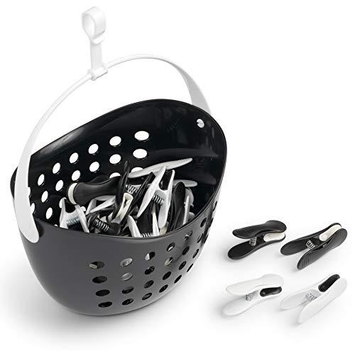 culiclean Soft Clips mit Korb (40 Stück mit Korb/schwarz-weiß, weiß-schwarz, Korb schwarz, Henkel weiß) Premium Wäscheklammern