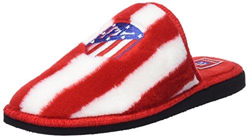 Andinas, Zapatillas de casa Unisex, Multicolor (RAYAS BLANCO-ROJO BORD. ATCO. MADRID), 40 EU