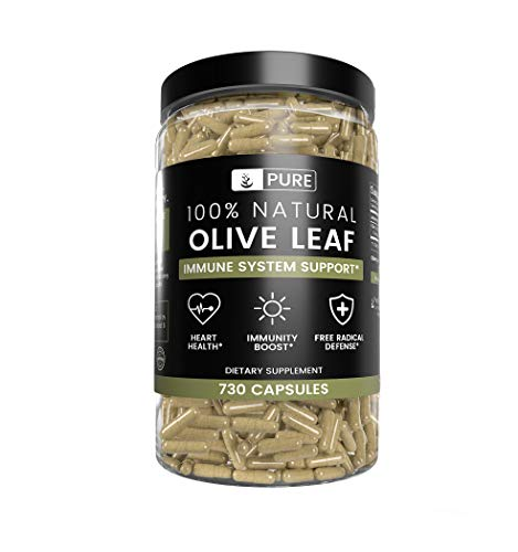 Olive Leaf, 1 Year Supply, 730 Capsules, 940mg, No Magnesium or Rice Filler, Non-GMO, Antioxidant, Gluten-Free, 20% Oleuropein, Made in USA, Undiluted Olive Leaf with No Additives 1