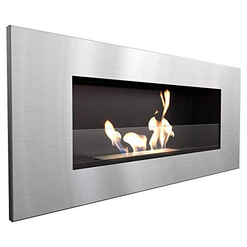 KRATKI bio Fireplace DELTA2 | 400 x 900 cm | 0.5 L Container | Ground | with Glazing 4 mm Glass Thickness | Wall-Mounted Ethanol Fireplace | Gel Fireplace Ideal for The Home | TÜV Certified