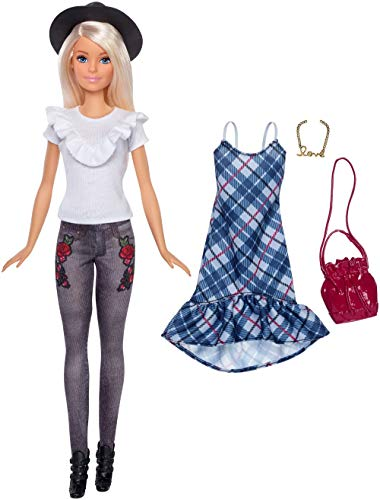 Barbie- Fashionistas Jeans Floreale con Un Secondo Look Incluso, FJF68