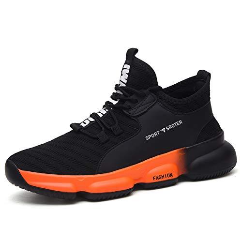 YISIQ Sicherheitsschuhe Herren Damen S3 Arbeitsschuhe Leicht sportlich Atmungsaktiv Schutzschuhe mit Stahlkappen Sneaker,06 Schwarz Orange,42 EU