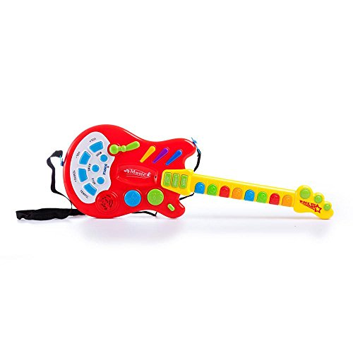 Dimple Kids Handheld Musical Electronic Toy Guitar for Children Plays Music, Rock, Drum & Electric Sounds Best Toy & Gift for Girls & Boys (Red)