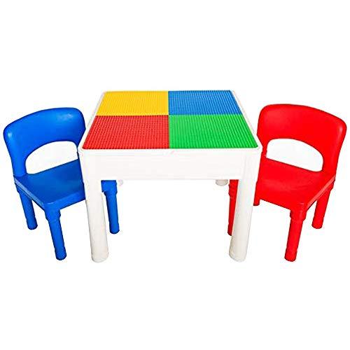 PlayBuild bambini 4 in 1 set per gioco e costruzione - Set tavolo e sedie per bambini per attivit all'aperto e al coperto Include 2 sedie per bambini