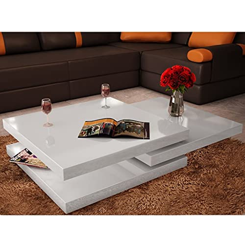 Modern Minimalist Style,Coffee Table Living Room, Study Room, Bedroom,3 Tiers High Gloss White (Lightning delivery)