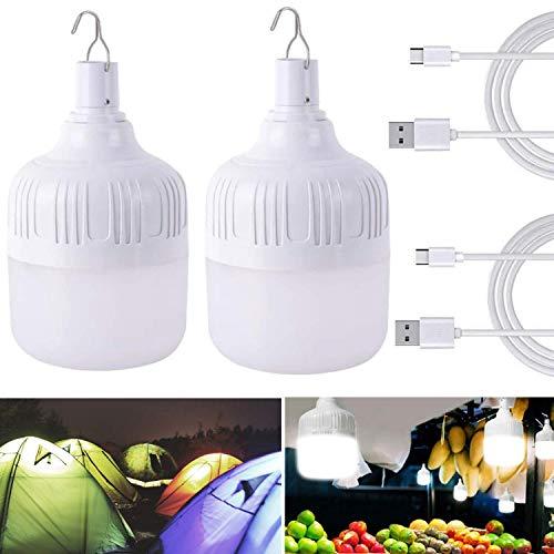 LED Lampe de Tente de Camping 2PCS Portable Ampoules LED, USB Rechargeable...