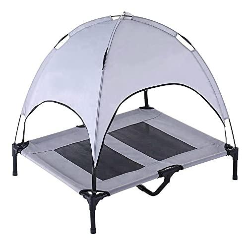 ONESTEP キャノピー 付 ペット用 メッシュ ベッド 選べる2サイズ サンルーフ 取り外し可能 組み立て式 脚付...