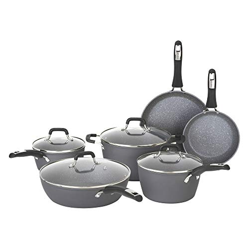 Product Image 1: Bialetti Textured Nonstick 10-Piece Oven-Safe Cookware Set, Gray Impact