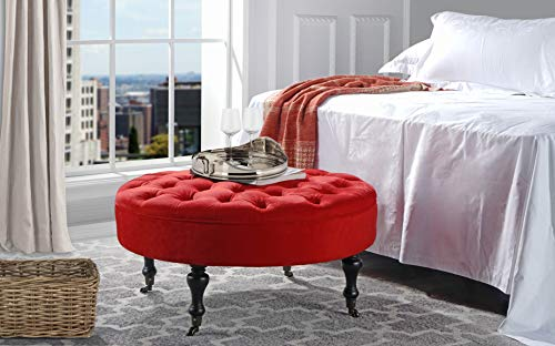 Divano Roma Furniture - Round Tufted Microfiber Coffee Table with Casters, Ottoman with Wheels (Red)
