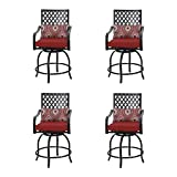 PHI VILLA Patio Stools Set of 4 with Red Cushions,Outdoor Metal Swivel Bar Height Chairs for Home Patio, Back Yard, Cafes, Bistro, Restaurants and Chic Bars