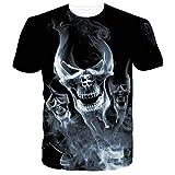 RAISEVERN Unisexe Crâne T-Shirt avec Bande Dessinée Imprimé Drôle Casual Summer...