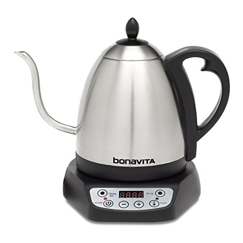 Bonavita 1.0L Variable Temperature Electric Kettle, 1.0 Liters, Metallic