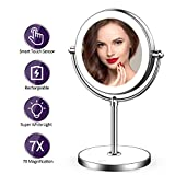 LVYOUIF Rechargeable Lighted Makeup Mirror with Dimmable Lights 7X Magnifying Mirror Double Sided Portable Magnified Mirror, Base Touch Button Wireless with Rechargeable Battery Shipped from US