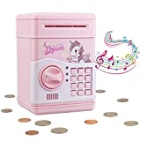 Electronic Piggy Bank for Girls, Kids Safe Money Bank with Personal Password Setting, Mini ATM Electronic Coin Bank Girls Piggy Bank, Auto Saving Bank for Real Money, Great Gift Toy for Kids