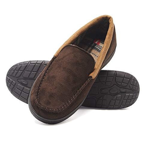 Hanes Men's Moccasin Slipper House Shoe with Indoor Outdoor...