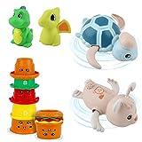 Gizmovine Baby Bath Stacking Toys, Toddler Water Bath tub Toys 2 Dinosaur Bath Toys and 5 Stacking Cup and 2 Animal Splash Toys Toys for 1 2 3 4 Year Old Girls Boys