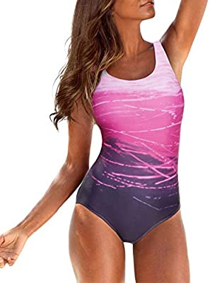 ⇒ Material: One Piece Swimsuits for Women, made of High quality 82% Polyester + 18% Spandex, quick dry, stretchy and comfortable to wear. Soft subtle finish moves nicely with the body. ⇒ Design: Swimsuits for Women, Wirefree padded shelf-bra for slig...