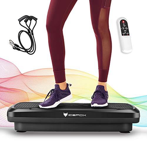 Icefox Fitness Vibrationsplatte mit Bluetooth 4.0 Lautsprecher, LCD Display & Fernbedienung, 10 Trainings-Programme-180 Level