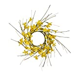Worth Imports 3.25' FORSYTHIA Set of 2 Candle Ring, Yellow,Brown
