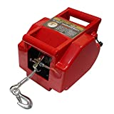 Portable 12V Automative/Boat Winch 6000 lbs. Load Capacity Utility Trailer Truck Portable Electric Winch Boat Marine Trailer with Handheld Remote/Lift Sling Towing Strap/Shackles