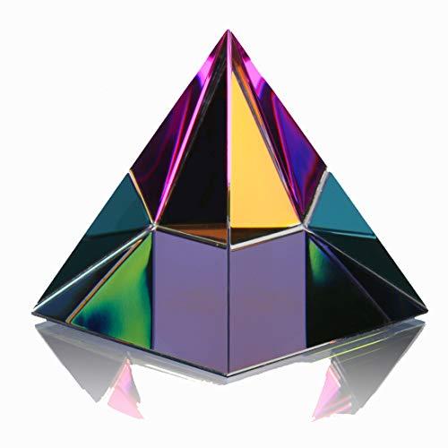 H&D HYALINE & DORA 2.4' H colorido cristal pirámide forma pisapapeles adorno de cristal con caja de regalo