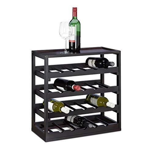 Relaxdays Cantinetta per Vino, Legno, Nero, 25x52x52 cm