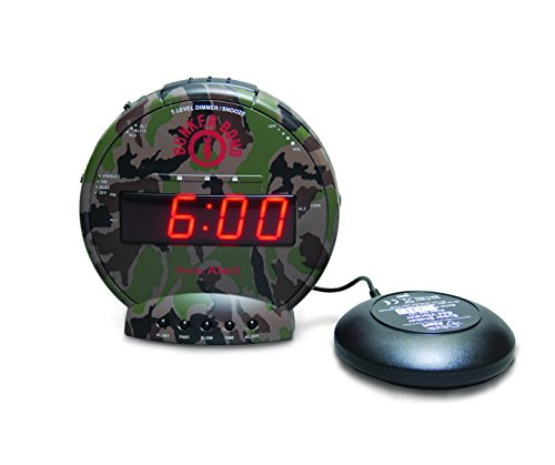 Sonic Alert Bunker Bomb Dual Extra Loud Alarm Clock with Bed Shaker, Vibrating Alarm for Heavy Sleepers, Full Range Dimmer, Battery Backup – camouflage