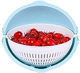 QTQHOME Plateau de Fruits Bol de Fruits,Double Couche Drain Basket Lavabo Lavabo...