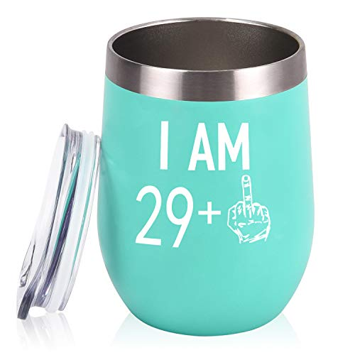 29 Plus One Middle Finger Wine Tumbler 30th Birthday Gifts for Women, Turning 30 Funny Tumbler Gifts Idea for Friends Her Wife Mom Coworkers, 12 Oz Insulated Tumbler Glasses, Mint