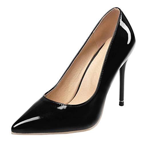 LOVOUO Stilettos Escarpins Vernis Femme Talon Aiguille Haut Sexy Chaussure Bout Pointu 10CM(Noir,43)