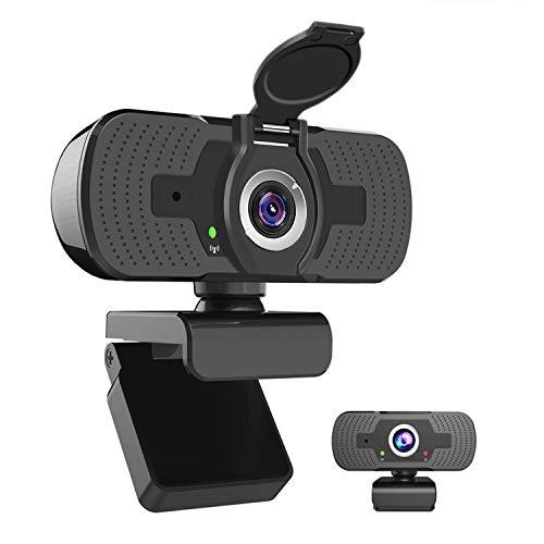 1080P Webcam Full HD, iAmotus Microfono Incorporato e Copertura Telecamera Plug and Play USB Fotocamera Web per Videochiamate, Studio, Conferenza, Registrazione, Giochi Compatibile con PC Windows Mac