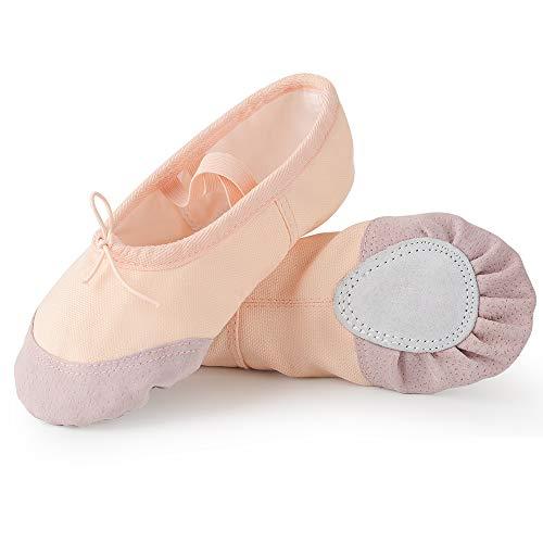 Soudittur Zapatillas de Ballet Suela Partida de Cuero Calzado de Danza para Niña y Mujer Adultos Rosa Nude Tallas 38