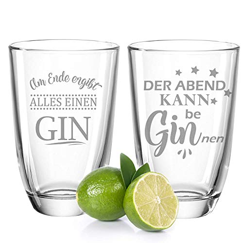 GRAVURZEILE 2er Set Montana GIN-Gläser - Der Abend kann be beGINnen & Am Ende ergibt alles einen...