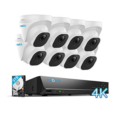 Reolink 16CH 4K Kit Videosorveglianza IP Poe, 16CH 4K Poe NVR con 8X4K Ultra HD IP Poe Telecamera Esterno Impermeabile, Sistema di Sorveglianza con HDD da 3TB, Registrazione 24/7, RLK16-800D8