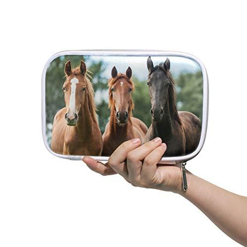 DEZIRO - Astuccio multifunzione per pennelli da trucco, con tre cavalli e sacchetto interno in rete per i viaggi