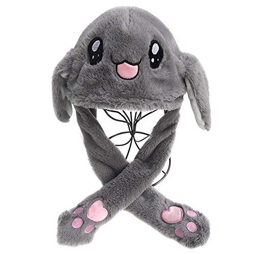 Reuvv Move Bunny Cappello Carino Animale Felpa Interessante Semovente Up Giù Orecchie Bambine Giocattoli Regalo Coniglio Migliore Regalo per Bambini Adulti - Gray