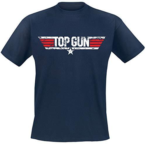 Top Gun Distressed Logo Uomo T-Shirt Blu Navy M 100% Cotone Regular
