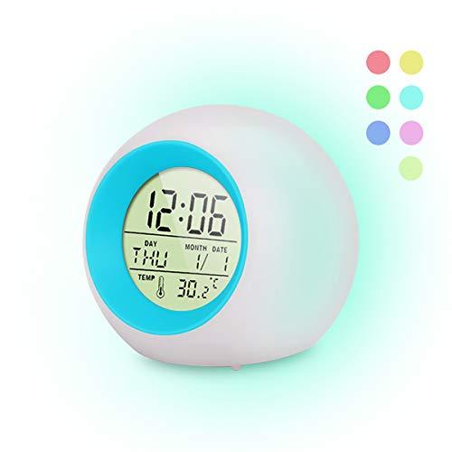 FAPPEN Wecker Kinder[2020 Version], 7 Farben ändern Lichtwecker LED für Kinder, 6 Klingeltöne, One-Tap-Control, Interne Anzeige, Uhrzeit, Woche, Datum und Temperatur Kinder