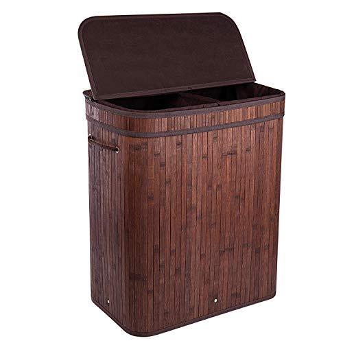 BRIAN & DANY 100L Bambus-Wäschekorb Faltbar Wäschebox mit 2 Fächern, Herausnehmbaren Wäschesack Tragegriff, Braun