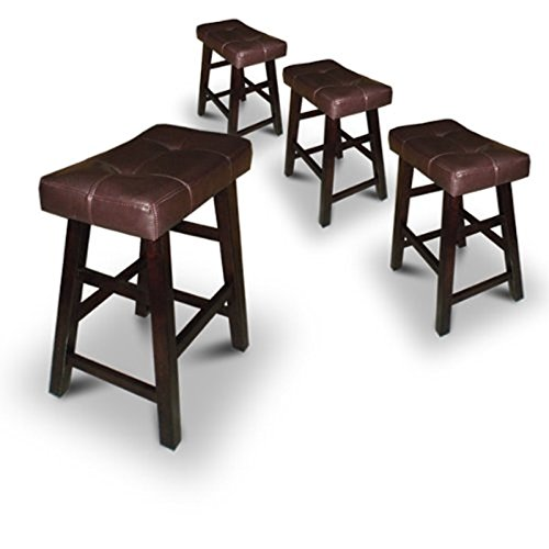"Legacy Decor 4 29"" Dark Espresso Wood Bar Stools with Bonded Faux Leather Seat"