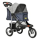 VIAGDO Premium Heavy Duty Pet Stroller for Small Medium Dogs & Cats, 3-Wheel Cat Stroller, Foldable Dog Stroller with Suspension System/Link Brake/One-Hand Fold, Max. Loading 55 LBS (Blue&Grey)