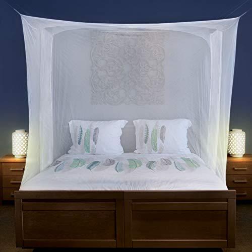 Universal Backpackers Moskitonetz für Doppelbett - 6 Hängeschlaufen und 2 seitliche Öffnungen - dekorative rechteckige Form für Zuhause & Reise - Betthimmel-Aufhängeset und Tragetasche inklusive
